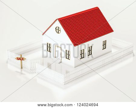 Small house with fence and SALE sign plate, 3d rendered