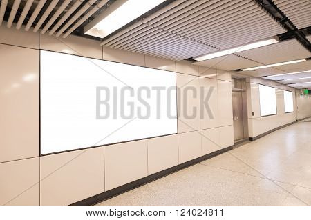 Blank Billboard in metro subway station shot in asia hong kong great for your copy space