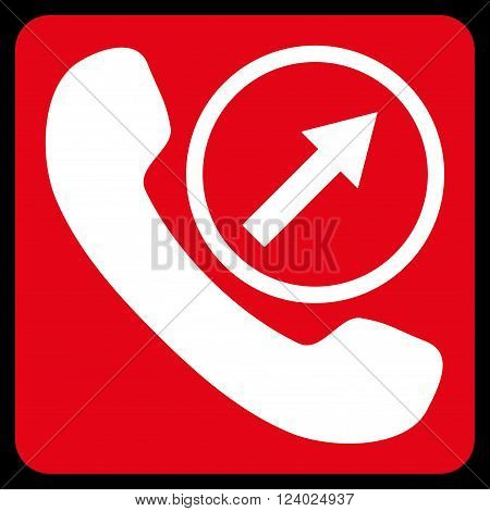 Outgoing Call vector pictogram. Image style is bicolor flat outgoing call pictogram symbol drawn on a rounded square with red and white colors.