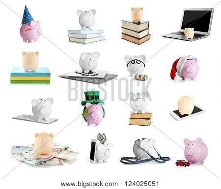 Save money concept. Collection of piggy banks, isolated on white