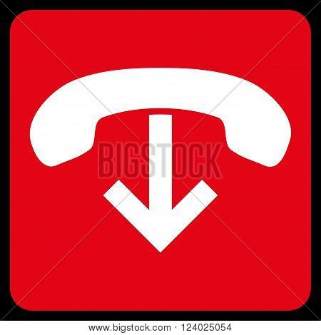 Phone Hang Up vector icon symbol. Image style is bicolor flat phone hang up icon symbol drawn on a rounded square with red and white colors.