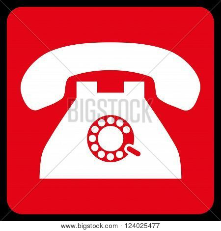 Pulse Phone vector symbol. Image style is bicolor flat pulse phone icon symbol drawn on a rounded square with red and white colors.