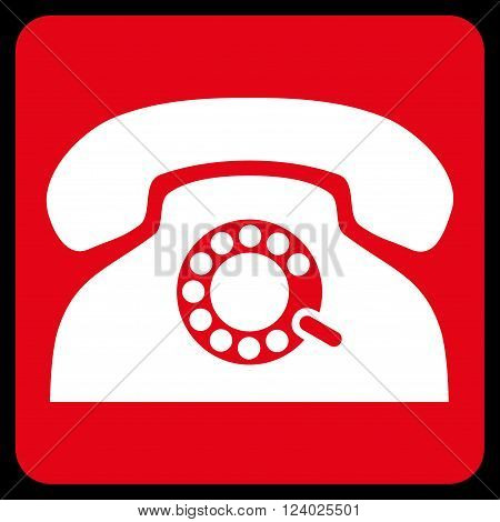 Pulse Phone vector pictogram. Image style is bicolor flat pulse phone iconic symbol drawn on a rounded square with red and white colors.