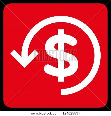 Refund vector icon symbol. Image style is bicolor flat refund iconic symbol drawn on a rounded square with red and white colors.