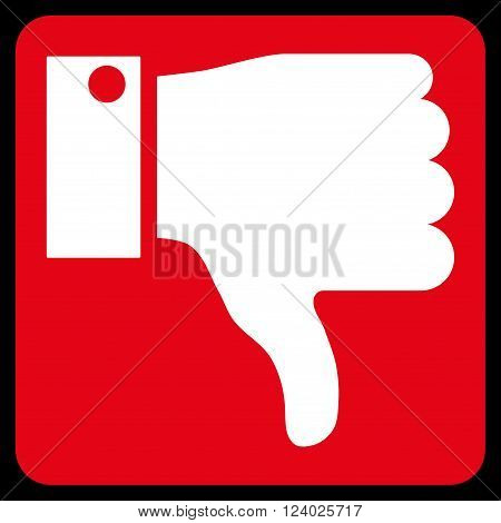 Thumb Down vector icon symbol. Image style is bicolor flat thumb down icon symbol drawn on a rounded square with red and white colors.