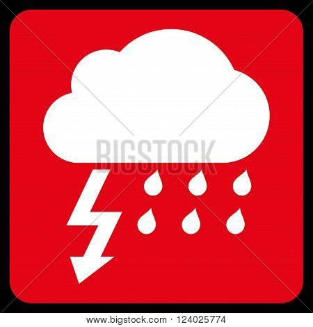 Thunderstorm vector symbol. Image style is bicolor flat thunderstorm iconic symbol drawn on a rounded square with red and white colors.