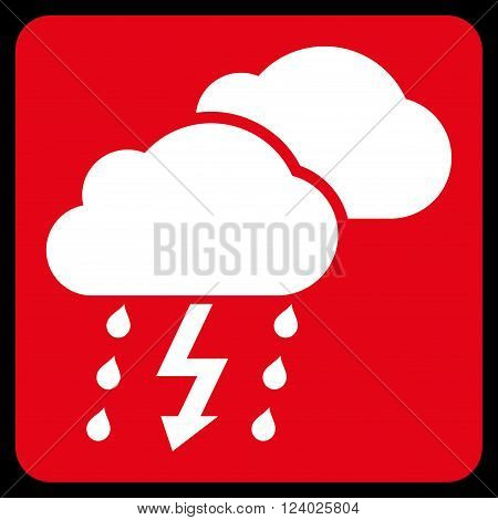 Thunderstorm vector icon symbol. Image style is bicolor flat thunderstorm icon symbol drawn on a rounded square with red and white colors.