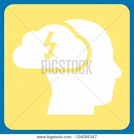 Brainstorming vector icon symbol. Image style is bicolor flat brainstorming pictogram symbol drawn on a rounded square with yellow and white colors.