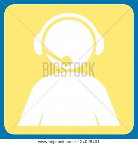Call Center Operator vector icon. Image style is bicolor flat call center operator icon symbol drawn on a rounded square with yellow and white colors.