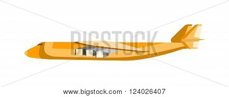 Cargo airplane vector illustration. Commercial airliner landing isolated on white background. Cargo airplane aviation. Cargo airplane transport. Cargo airline business airliner.