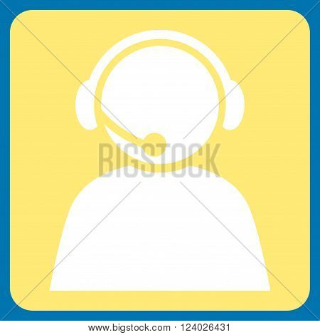 Call Center Operator vector symbol. Image style is bicolor flat call center operator icon symbol drawn on a rounded square with yellow and white colors.