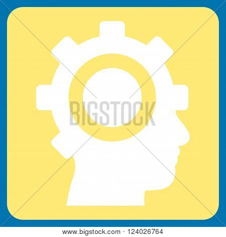 Cyborg Gear vector icon symbol. Image style is bicolor flat cyborg gear iconic symbol drawn on a rounded square with yellow and white colors.
