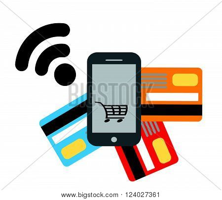 Mobile payments and communication.Flat design style vector illustration of modern smartphone.Vector illustration.Transaction and paypass and NFC.