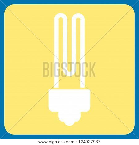 Fluorescent Bulb vector pictogram. Image style is bicolor flat fluorescent bulb icon symbol drawn on a rounded square with yellow and white colors.