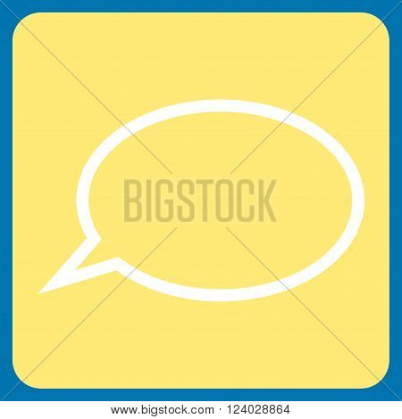 Hint Cloud vector pictogram. Image style is bicolor flat hint cloud icon symbol drawn on a rounded square with yellow and white colors.