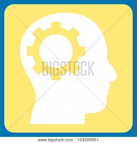 Intellect Gear vector icon symbol. Image style is bicolor flat intellect gear pictogram symbol drawn on a rounded square with yellow and white colors.