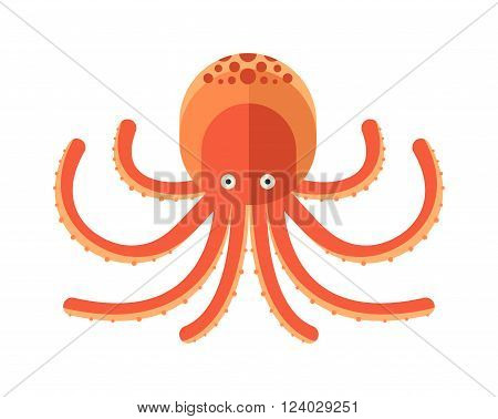 Illustration of cartoon octopus vector. Illustration of octopus. Octopus cartoon style. Cute octopus on white. Cartoon octopus animal underwater. Sea life animals