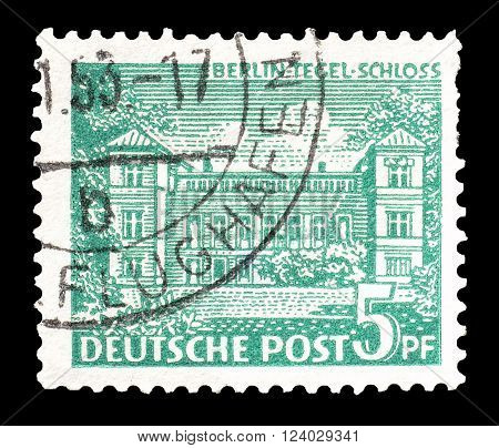 GERMANY - CIRCA 1949: Cancelled postage stamp printed by Germany, that shows Tegel castle.