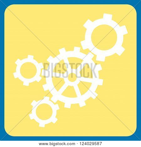 Mechanism vector icon symbol. Image style is bicolor flat mechanism pictogram symbol drawn on a rounded square with yellow and white colors.