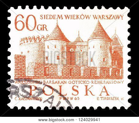 POLAND - CIRCA 1965: Cancelled postage stamp printed by Poland, that shows castle in Warsaw.