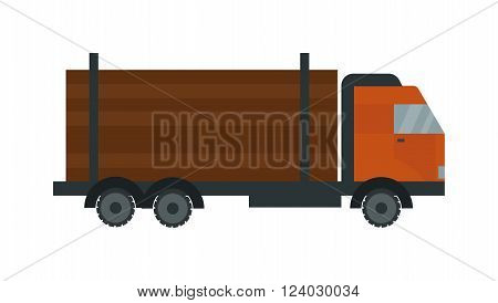 Timber truck vector. Timber truck illustration. Timber truck isolated on white. Timber truck icon. Timber truck flat style. Timber truck silhouette. Timber truck auto transport. Transportation timber truck