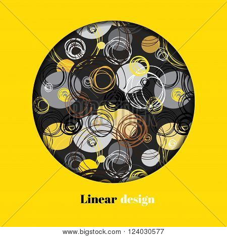 Abstract geometric background. Circle window design. Black yellow brown gray hand drawn intersecting outline circles elegant ornament in black round yellow background. Vector element of graphic design