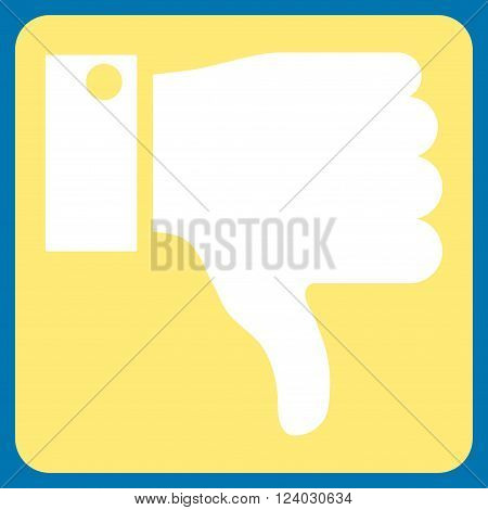 Thumb Down vector pictogram. Image style is bicolor flat thumb down icon symbol drawn on a rounded square with yellow and white colors.