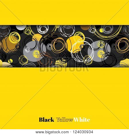 Abstract geometric background. Horizontal border stripe design. Black yellow gray hand drawn intersecting outline circles elegant ornament in black stripe on yellow background. Vector graphic design.