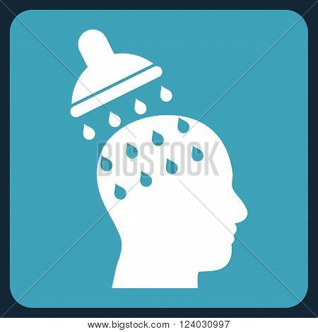 Brain Washing vector icon symbol. Image style is bicolor flat brain washing pictogram symbol drawn on a rounded square with blue and white colors.