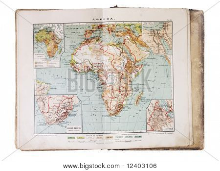 old XIX century geographical map-book open