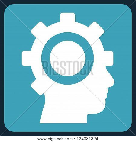 Cyborg Gear vector pictogram. Image style is bicolor flat cyborg gear icon symbol drawn on a rounded square with blue and white colors.