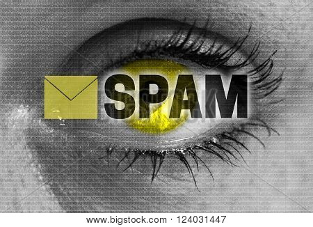 spam eye looks at viewer concept background.
