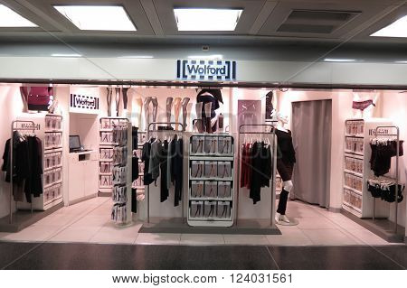 LINATE, ITALY - CIRCA JANUARY 2016: Wolford brand store at the airport of Milano Linate
