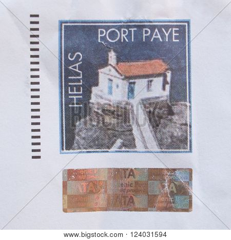 ATHENS GREECE - CIRCA DECEMBER 2013: envelope with a Greek preprinted stamp showing Greek traditional architecture