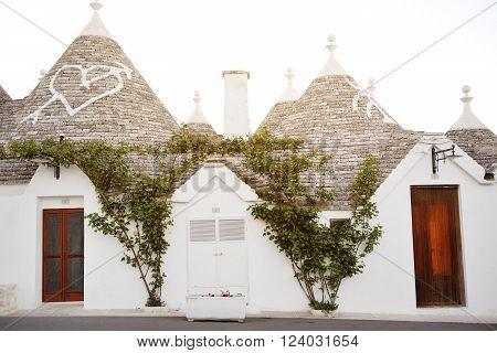 trulli ancient characteristic houses in Alberobello Apulia Italy