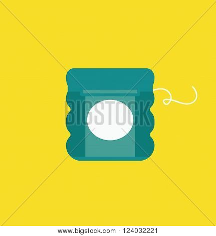 Dental floss vector illustration, dental floss icon. Dental floss isolated on yellow background. Dental floss vector icon flat style, dentist tool floss. Dental floss for tooth care vector. Dental floss silhouette