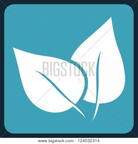 Flora Plant vector symbol. Image style is bicolor flat flora plant pictogram symbol drawn on a rounded square with blue and white colors.