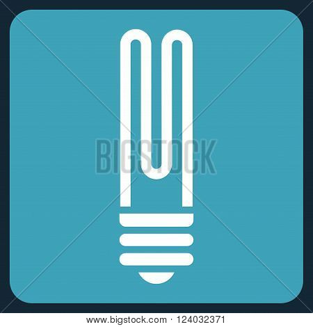 Fluorescent Bulb vector icon. Image style is bicolor flat fluorescent bulb icon symbol drawn on a rounded square with blue and white colors.
