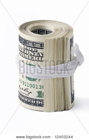 Folded bunch of one hundred American dollar bills isolated on white background