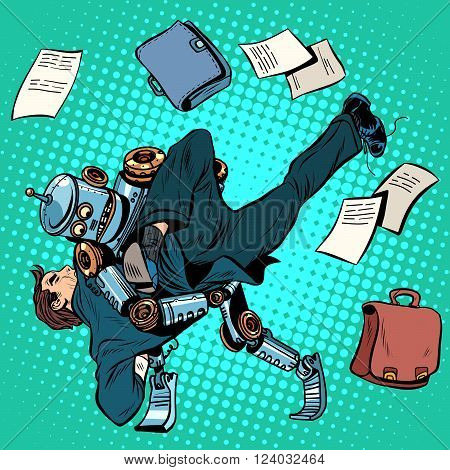 Fighting robot and human, artificial intelligence, new technologies pop art retro style. the business concept of technological progress and man place in the new world