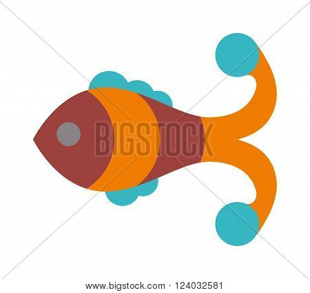 Fish flat icon vector isolated on white background. Fish vector image of funny cartoon smiling fish flat. Fish flat animal water life symbol. Fish flat cartoon animal. Fish flat vector.