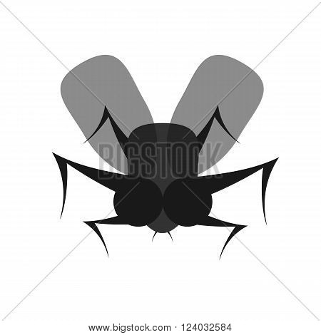 scary black fly flat vector icon on white background