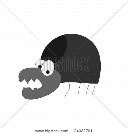 Funny caricature afraid black mite vector icon on white background
