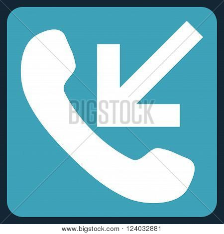 Incoming Call vector symbol. Image style is bicolor flat incoming call pictogram symbol drawn on a rounded square with blue and white colors.