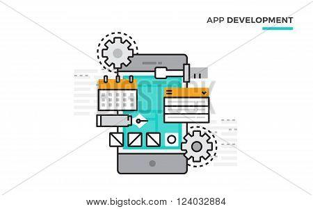 Flat line design vector illustration concept of App Development, Mobile App Design, Ui and Ux design. Design for Website Element , Web Banner and promotional materials. Editable Stroke.