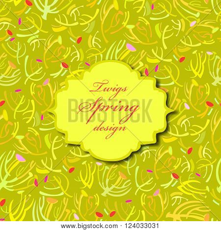 Abstract spring summer floral background. Green yellow spring twigs elegant seamless pattern background with vintage green label with text place. Wrapping paper, textile fabric vector illustration