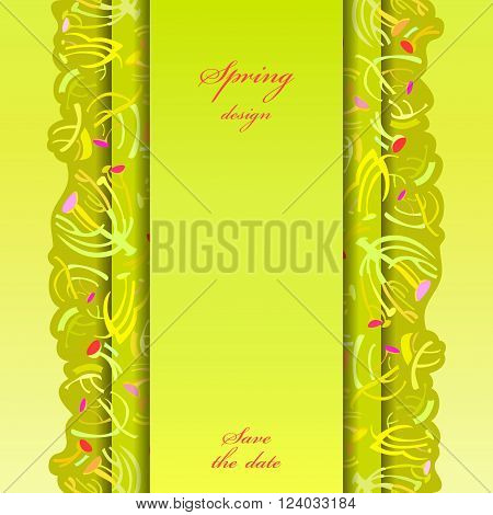 Abstract spring summer floral background. Green yellow spring twigs elegant ornament green background. Vertical border stripe sprig pattern design. Wrapping paper or textile fabric vector illustration