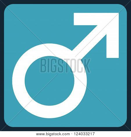 Male Symbol vector icon symbol. Image style is bicolor flat male symbol icon symbol drawn on a rounded square with blue and white colors.