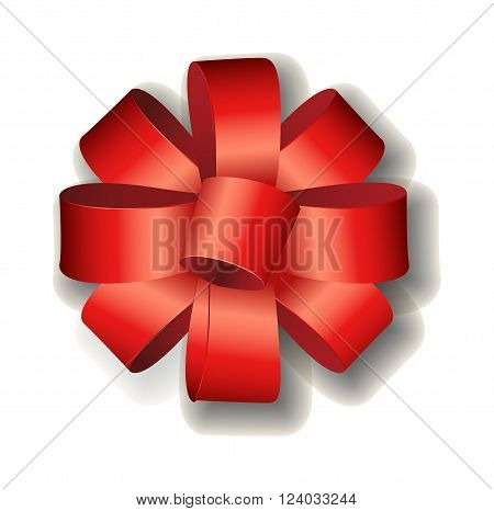 Red ribbon bow on white background. Shiny red satin ribbon on white background. Holiday ribbon and bow. Red ribbon. Red ribbon decoration element. Red ribbon celebration symbol.
