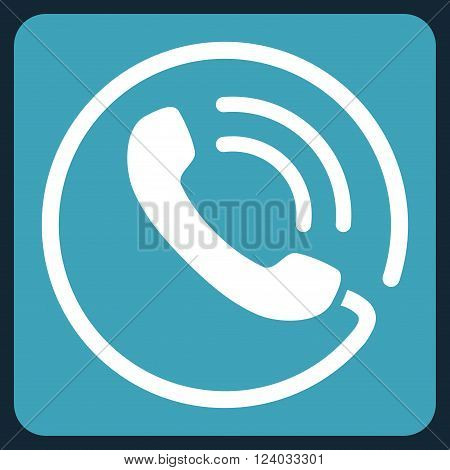 Phone Call vector icon symbol. Image style is bicolor flat phone call iconic symbol drawn on a rounded square with blue and white colors.